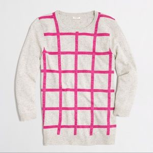 J.Crew Factory Windowpane Shimmer Sweater Pink